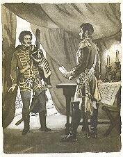 Денис Давыдов у княза Багратиона - иллюстрация Г.Акулова